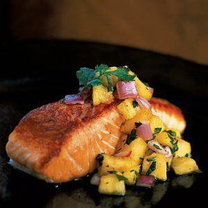 Pan-Grilled Salmon with Pineapple Salsa dish